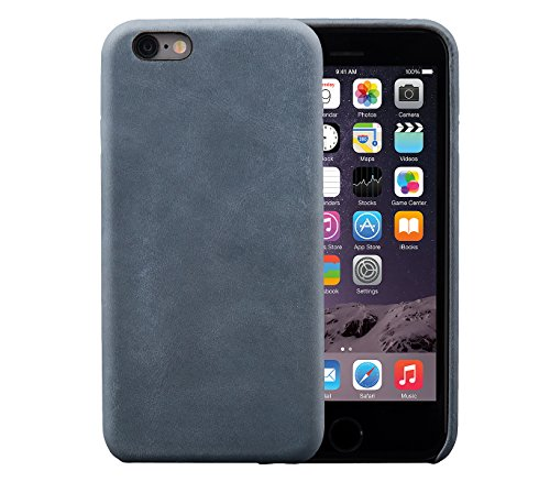 iPhone 6 / 6S Backcover-Case, FUTLEX Retro Stil Case aus echtem Leder - Blau - Ultra Slim - Präziser Zuschnitt und Design - Handgefertigt