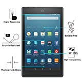 Fire HD 8 Screen Protector - OMOTON Tempered Glass Screen Protector for Fire HD 8 Tablet [2.5D Rounded Edge] [9H Hardness] [Crystal Clear] [Bubble Free]
