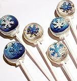 美しすぎて食べられない!3D 【 雪の結晶キャンディー】 3D metallic snowflakes lollipops (6個パック) [並行輸入品]