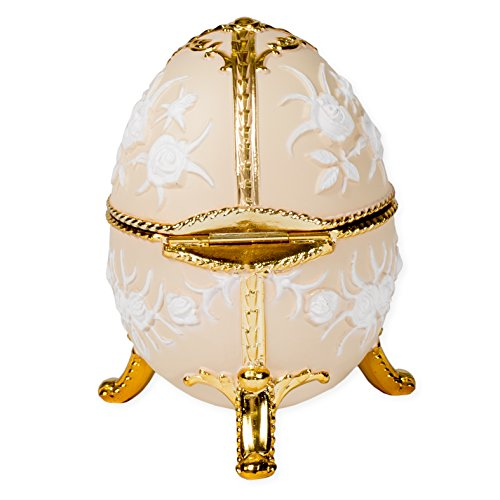 Eggshell Filigree Faberge Egg Shaped Metal Musical Figurine Plays Canon (Faberge Czar Imperial)