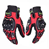 Protective Motorcycle Gloves Powersport Cycling Mountain Bike Men Women Gloves 01G (XXL, Red)