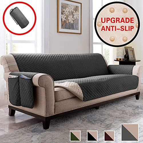 Vailge Anti-Slip Oversized Sofa Covers, Water Resistant Sofa Slipover with Back Non-Slip Dots,Machine Washable Sofa Covers for Dogs, Children, Pets(Sofa Oversize:Dark Grey) (Leather Discount Sectional)