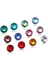 Set of 12 Swarovski Crystal Birthstones for Loving Family Mother's Heart Locket