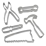 Tool Cookie Cutter Set - 5 Piece - 4 in Screw Driver, 4 in Wrench, 4.5 in Pliers, 4.75 in Hammer, 5.25 in Saw - Foose Cookie Cutters - US tin Plated Steel