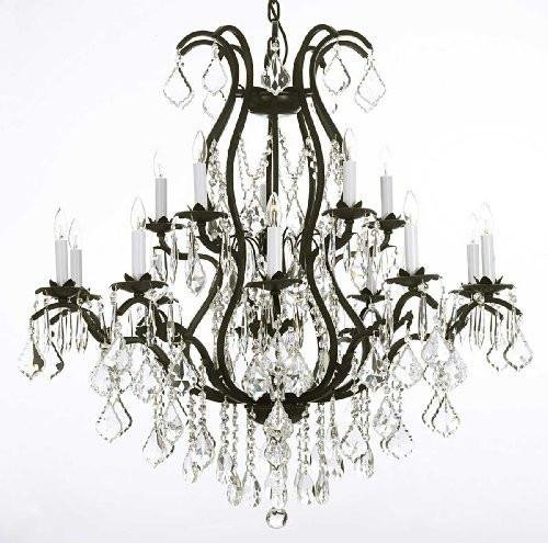 - Wrought Iron Chandelier Crystal Chandeliers Lighting H36