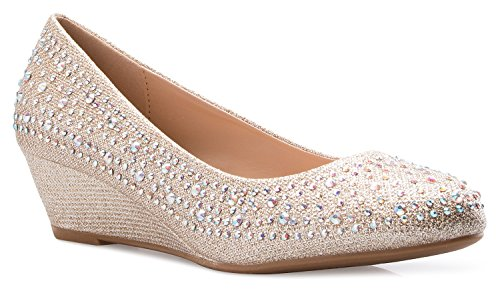 OLIVIA K Women's Close Round Toe Low Wedge Glitter Rhinestone Comfort