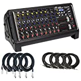 Peavey XR AT 1000W 9 Channel Powered Mixer with 8 Cables