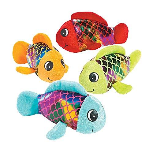 Fun Express - Shiny Plush Fish - Toys - Plush - Stuffed Aquatic & Arctic - 12 Pieces