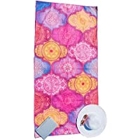Microfibre Beach Towel for Travel - Quick Dry, Sand Free, Travel Beach Towel in Designer Paisley, Tropical & Boho Beach Towel Prints for Beach, Travel, Cruise, Outdoor, Gifts for Women L & XL