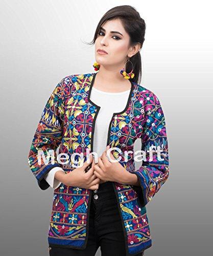 MEGH CRAFT Women's Kutch Embroidered Cotton Shrug H - 27