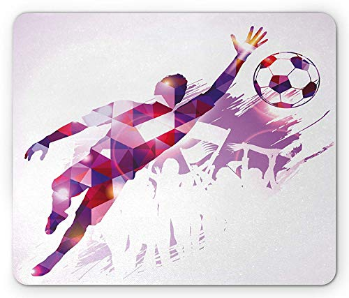 Sports Mouse Pad, Abstract Silhouette Fractal Mosaic Soccer Player Goalkeeper Catching Ball, Standard Size Rectangle Non-Slip Rubber Mousepad, Violet Pink Vermilion (Soccer Keeper Control)