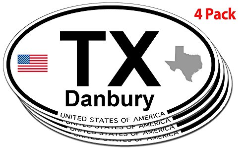 Danbury, Texas Oval Sticker - 4 - Us Danbury