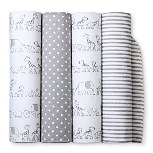 Flannel Baby Blankets Two by Two 4pk - Cloud Island Gray (Grey)
