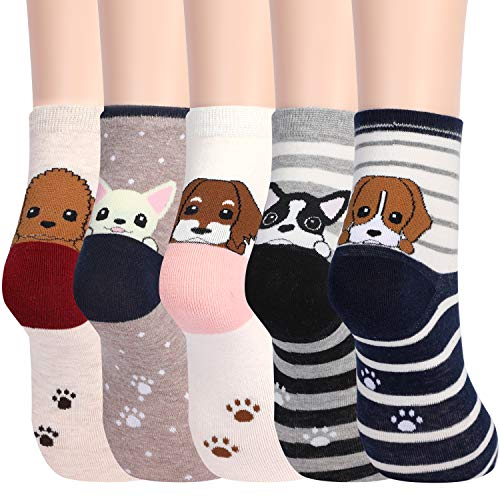 Women's Funny Dog Socks Cotton Fun Novelty Cute Pack of 5 ()
