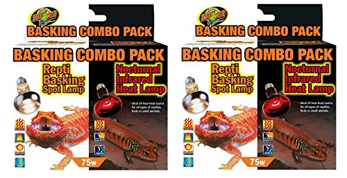 Zoo Med 2 Pack of Day/Night Light Basking Combo Pack, Each Pack Contains 1 Day and 1 Night Bulb