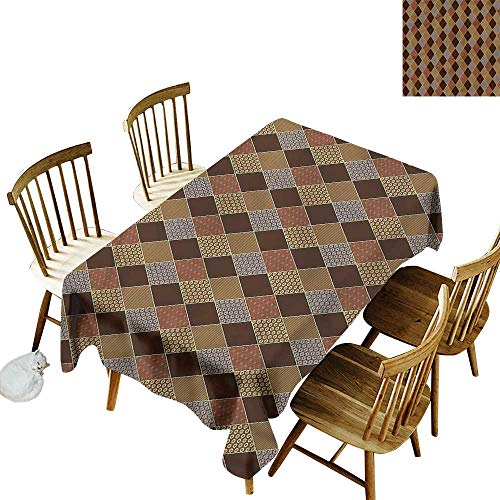 (Sillgt Fashions Rectangular Table Cloth Brown Classic Lozenge Pattern Party Decorations Table Cover Cloth 54