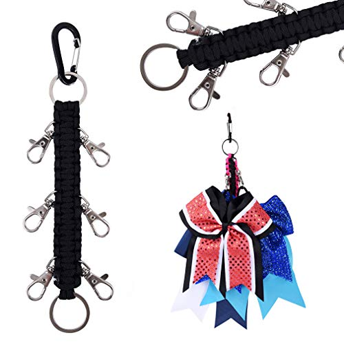 DEEKA Paracord Handmade Cheer Bows Holder for Cheerleading Teen Girls High School College Sports - Black]()