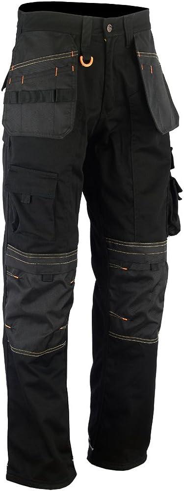 WrightFits Men Work Cargo Combat Trouser Black Site Heavy Duty Multi Pockets Safety Knee Pad,