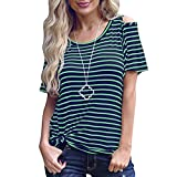 KingWo New Fashion Women Short Sleeve Cold Off the Shoulder Striped Casual Tunic Long Top T-Shirts (XL, Green)