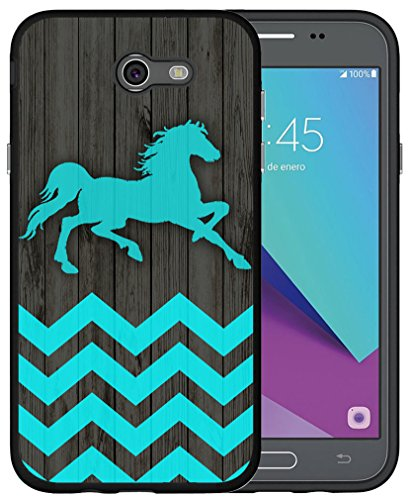 J7 Case 2017 Horse - CCLOT TPU Cover Compatible for Samsung Galaxy Halo/J7 2017/J7 V/J7V 2017/J7 Prime/J7 Sky Pro/J7 Perx Cute Chevron Horse Wonderful Blue Design Animal