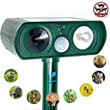 FutureVis Ultrasonic Animal Repeller Solar Powered Animal Repellent Motion Sensor Waterproof Outdoor Electronic With LED Flash For Squirrels,Raccoon,Mouse,Dogs,Cats,Bird&Skunk Protect Garden Lawn Farm