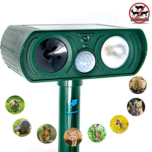FutureVis Ultrasonic Animal Repeller Solar Powered Animal Repellent Motion Sensor Waterproof Outdoor Electronic With LED Flash For Squirrels,Raccoon,Mouse,Dogs,Cats,Bird&Skunk Protect Garden Lawn Farm by FutureVis