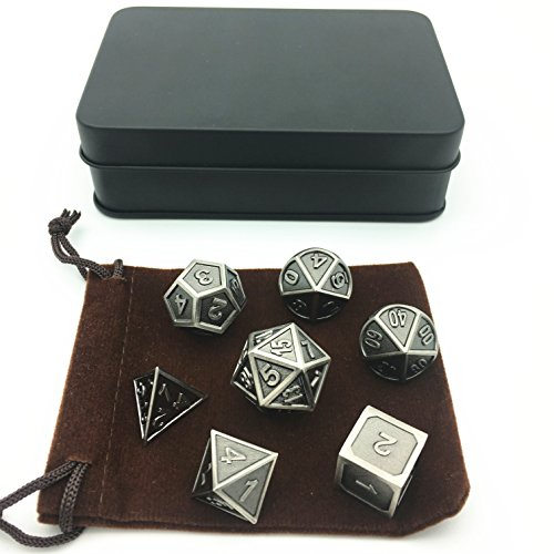 Amatolo Polyhedral Metal Dice with Metal Case, Set of 7 for RPG D&D Math Teaching (Ridge Ancient Nickel Color) by Amatolo