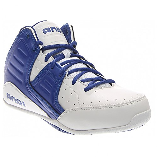 AND 1 Men's Rocket 4.0 Basketball Shoe, White/Royal White, 8.5 M US