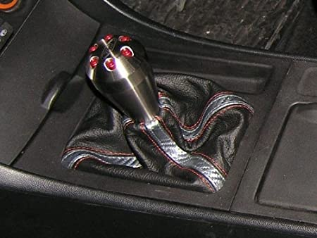 RedlineGoods Shift Boot Compatible with Mazda 3 2009-13 Red Leather-Black Thread