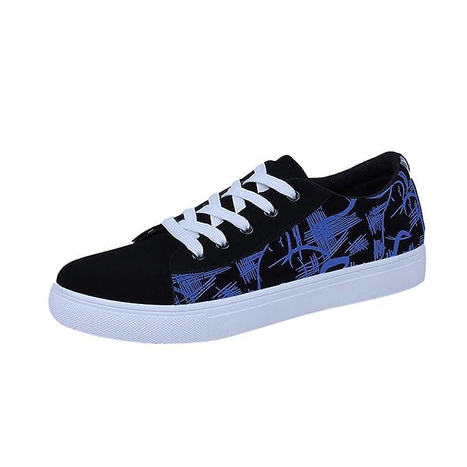 JiaMeng Zapatillas Deporte Hombre Zapatos de Entrenamiento para Hombre Malla Casual Graffiti impresión Tobillo bajo con Cordones talón Plano Zapatos de ...