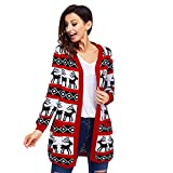 Product review for Harmony Life Women Christmas Reindeer Cardigan Oversized Knitting Sweater Open Front Long Sleeve Coat