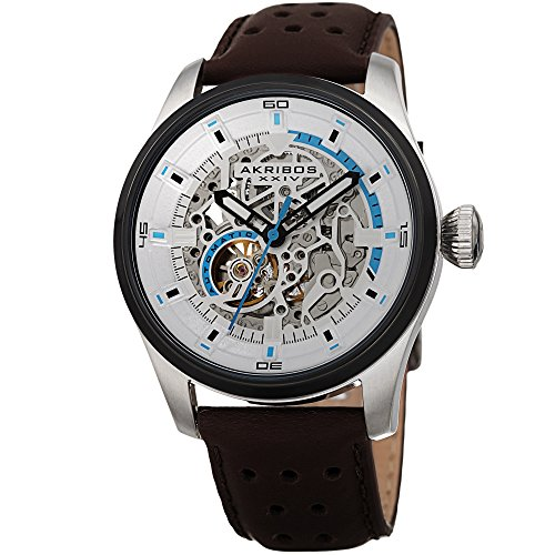 Akribos XXIV Men's AK1010 Automatic Skeltonized Perforated Leather Strap Watch (Silver/Brown)