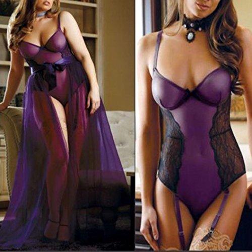 Ltrotted Plus Size Women Lace Lingerie Set, Babydoll Leotard Skirt Jumpsuit Nightwear (3XL, Purple)