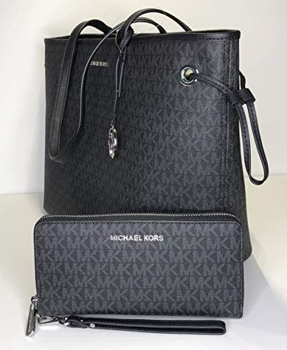MICHAEL Michael Kors Large Top Zip Drawstring Tote bundled with Michael Kors Jet Set Travel Large Continental Wallet/Wristlet (Signature MK Black)