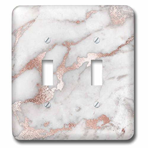 3dRose Uta Naumann Faux Glitter Pattern - Image of Chic Gray Trendy Copper Rose gold Marble Agate Gemstone Rock Quartz - Light Switch Covers - double toggle switch (lsp_275197_2)
