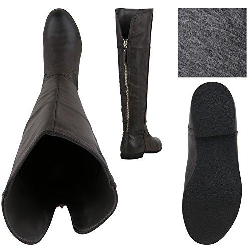 Stiefelparadies Damen Klassische Stiefel mit Blockabsatz Flandell Grau Zipper
