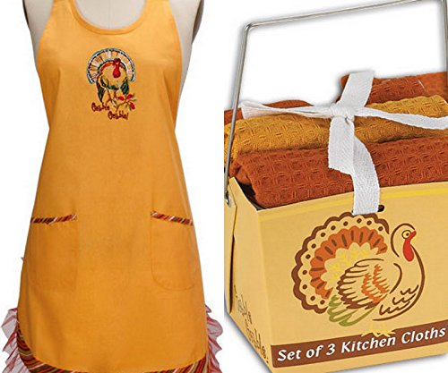 Kay Dee Thanksgiving Turkey Gobble Girlie Apron and 3pc Dishcloth  Set Bundle (Apron Thanksgiving)