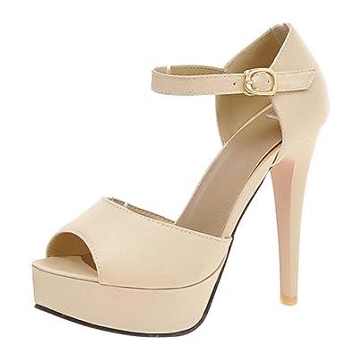 TAOFFEN Damen Peep Toe Sandalen Sommer Schuhe Stiletto