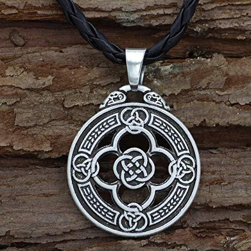 Davitu Slavic Norway Viking Warrior Shield Pendant Protection Renaissance Jewelry Valknut Viking Pendant Viking Necklace Norse Metal Color: Silver Plated, Length: 60cm