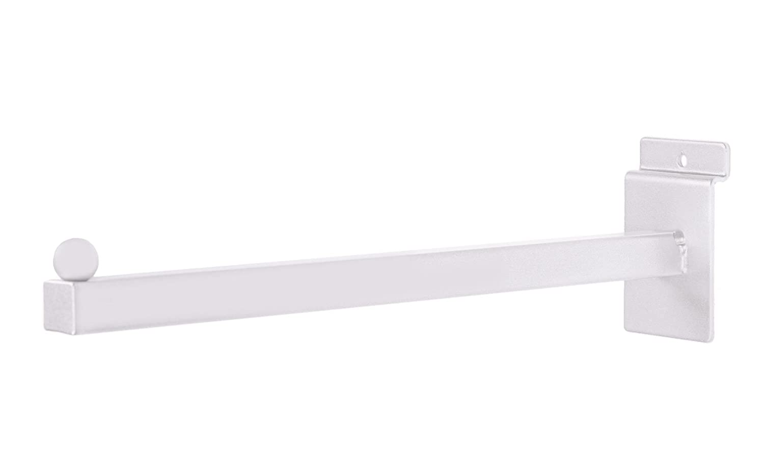 12 inch Straight Square White Faceout for Slatwall Pack of 25