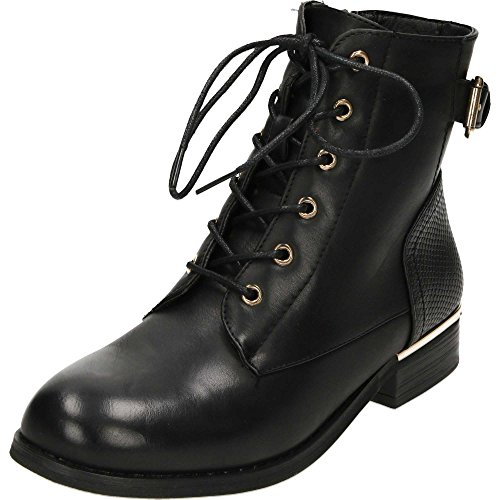 Krush Lace up Black Flat Military Ankle Boots Black