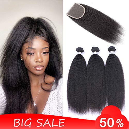- Christmas Gift Dingfeng Hair 8A Kinky Straight Hair 3 Bundles With Closure Yaki Human Hair Weave Unprocessed Brazilian Virgin Hair With 4x4 Lace Closure Big Sale Natural Black (141618+12)