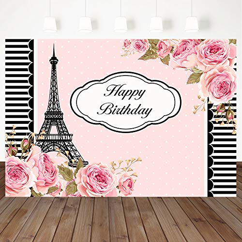 Mocsicka Happy Birthday Backdrop Paris Eiffel Tower Background Pink Flower Backdrops Black White Stripes Border Banner 7×5ft Vinyl Girl Birthday Party Photography Background