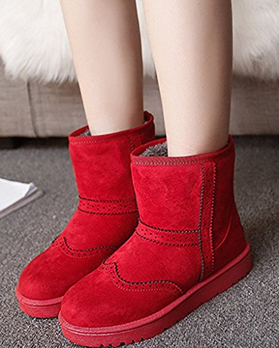Chaudes Brogue Coton Anti Plates Neige De Bottes Rouge Femmes glisse D'hiver Bottines Chaussures Minetom xO4fYwc