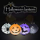 YIPBOWPT 4 Packs Halloween Lanterns, Jack-O-Lanterns Hanging Paper Lanterns LED Pumpkin Spider Bat Skeleton Decorative Lantern Lights for Indoor Outdoor Halloween, Holiday Party Favor