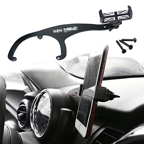 GTINTHEBOX Smartphone Cell Phone Cup Mount Holder with Cradle Rotatable Clip (Black & Gray Union Jack Flag Style, 3.5-5.5 Inch Phone) For Mini Cooper R55 R56, 1 Pack