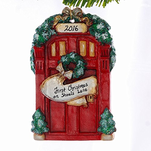 Personalized Red Door Christmas Ornament, New Home, First Christmas, Newly Wed, Family Ornament