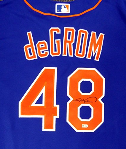 (New York Mets Jacob deGrom Autographed Blue Majestic Jersey Size XL MLB Holo)