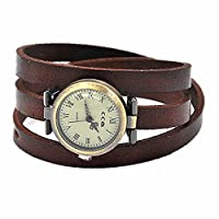 MINILUJIA Bohemian Style Watch 3X Wrap Around Leather Watch Women Watches with Vintage Bronze Small Roman Number Dial Chocolate Color (Simple Style)