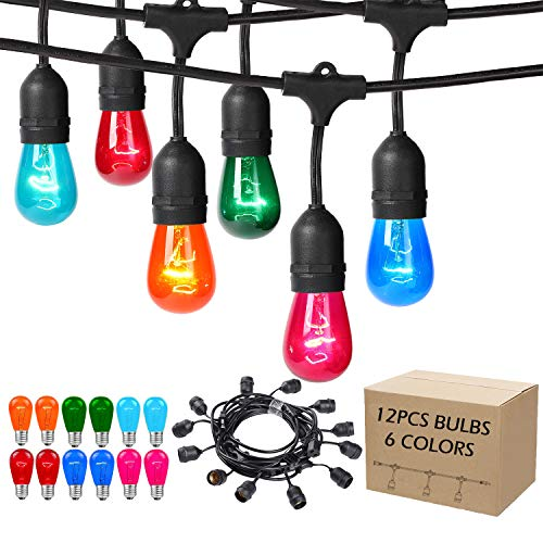 (Areful Outdoor String Lights, 17.3 Ft Weatherproof Connectable Decorative Commercial Lighting Strands with 10 Hanging Sockets and Colored S14 Bulbs for Home, Business or Party Decoration)